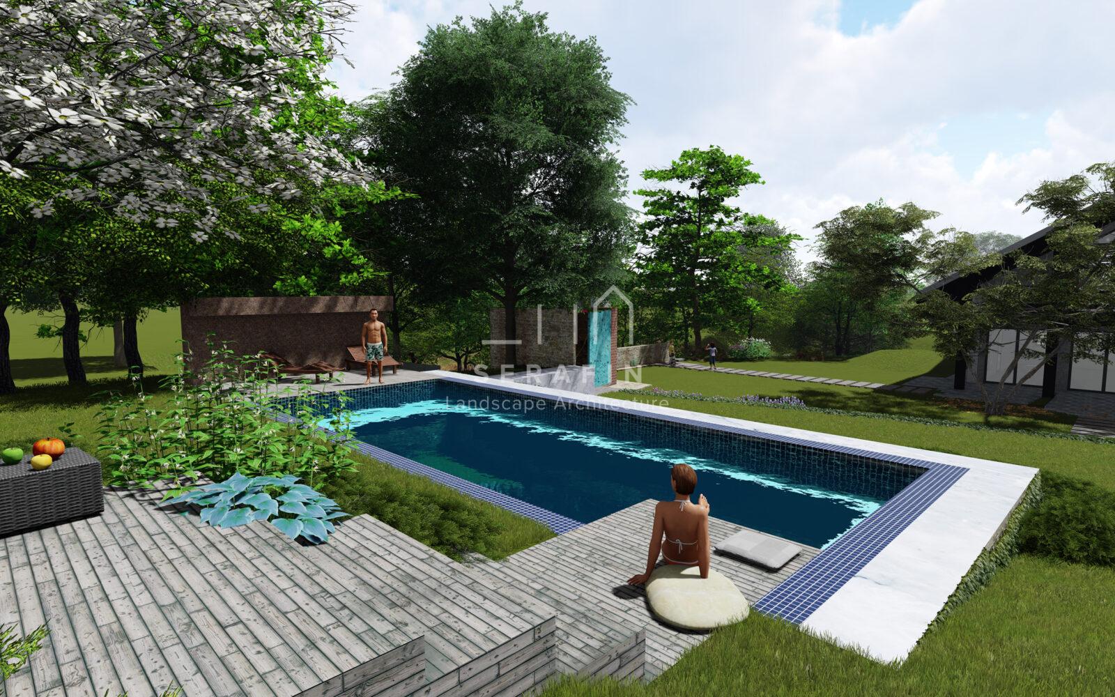 giardino alpino con piscina