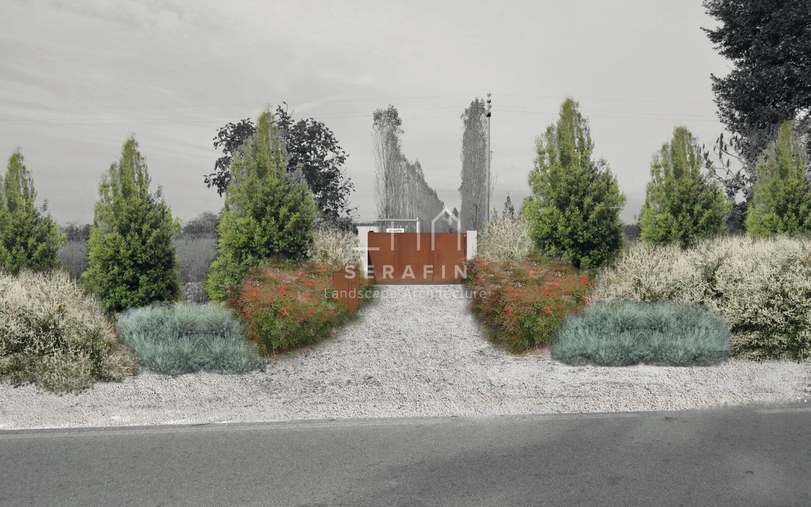 progetto ingresso abitazione privata con siepe campestre - 1