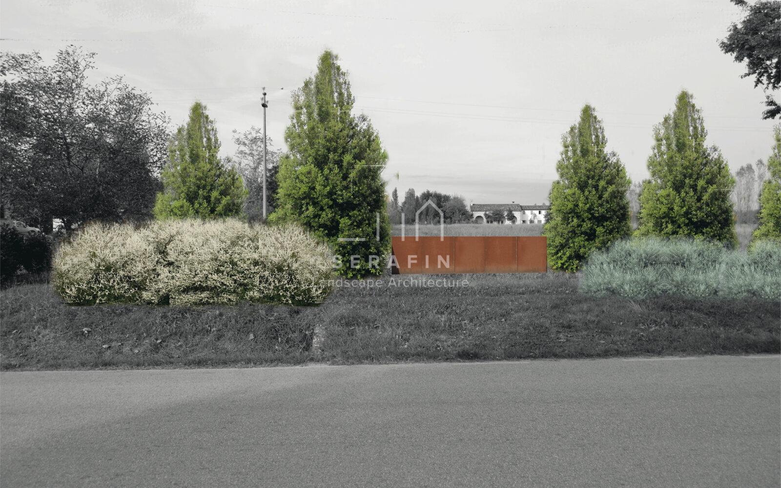 progetto ingresso abitazione privata con siepe campestre - 2