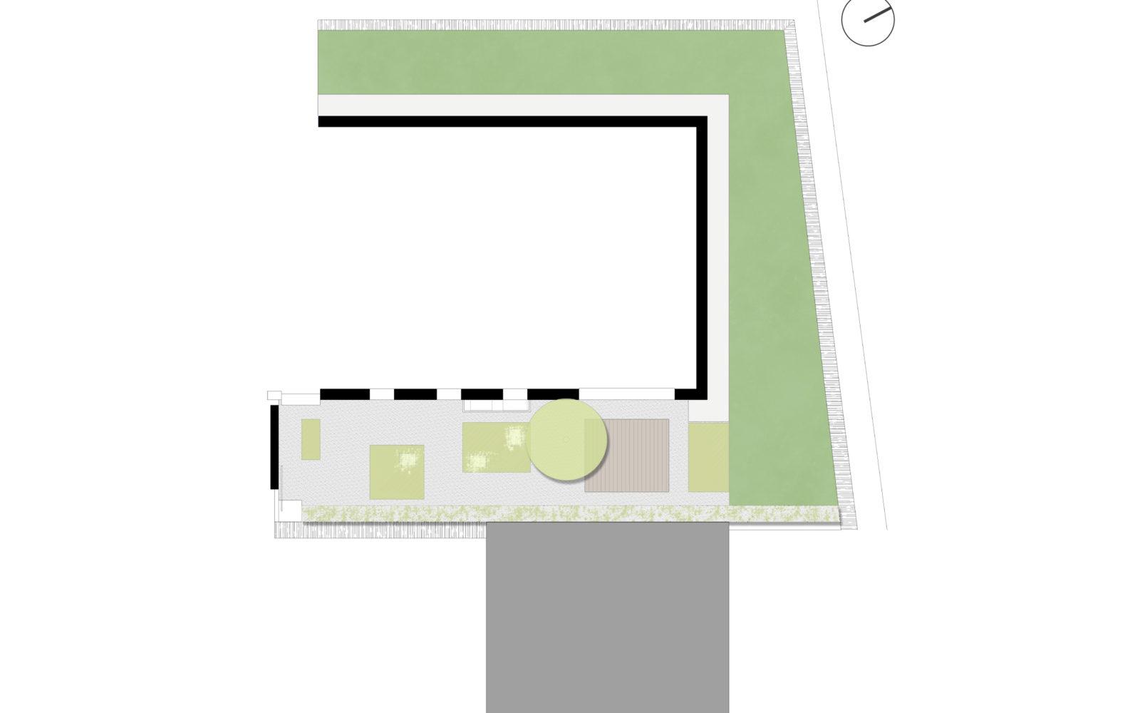 disegno progettuale piccolo giardino privato a Treviso - 1