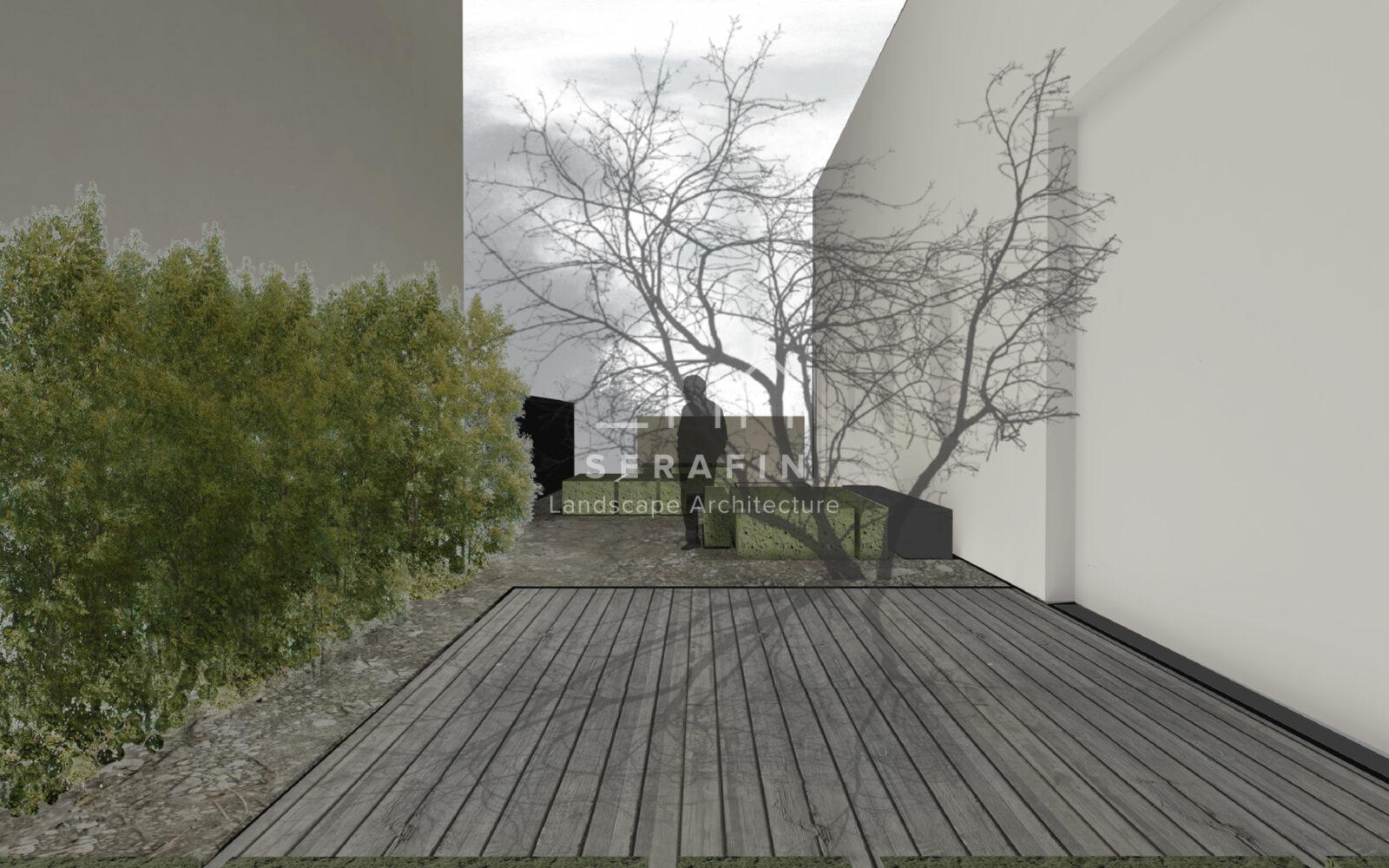disegno progettuale piccolo giardino privato a Treviso - 3