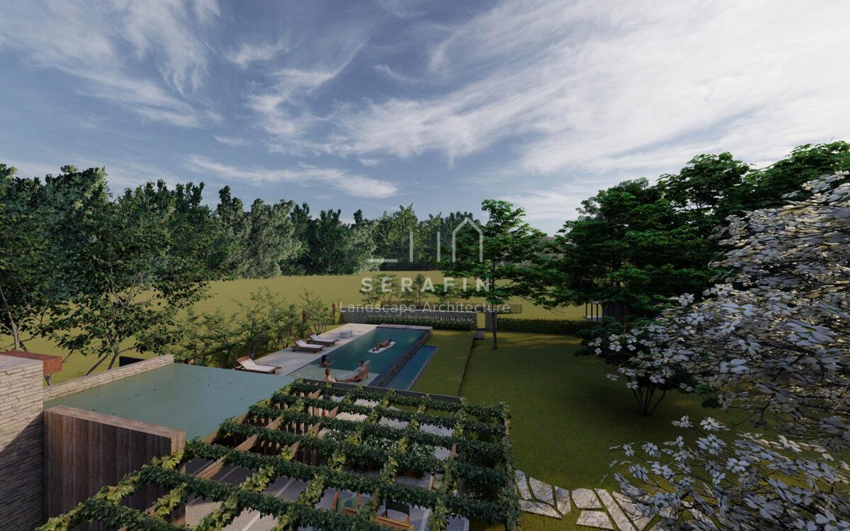Realizzazione giardino di lusso con piscina e arredo Vittorio Veneto foto 3