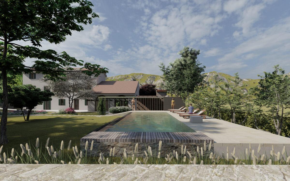 realizzazione giardino di lusso con piscina e arredo Vittorio Veneto