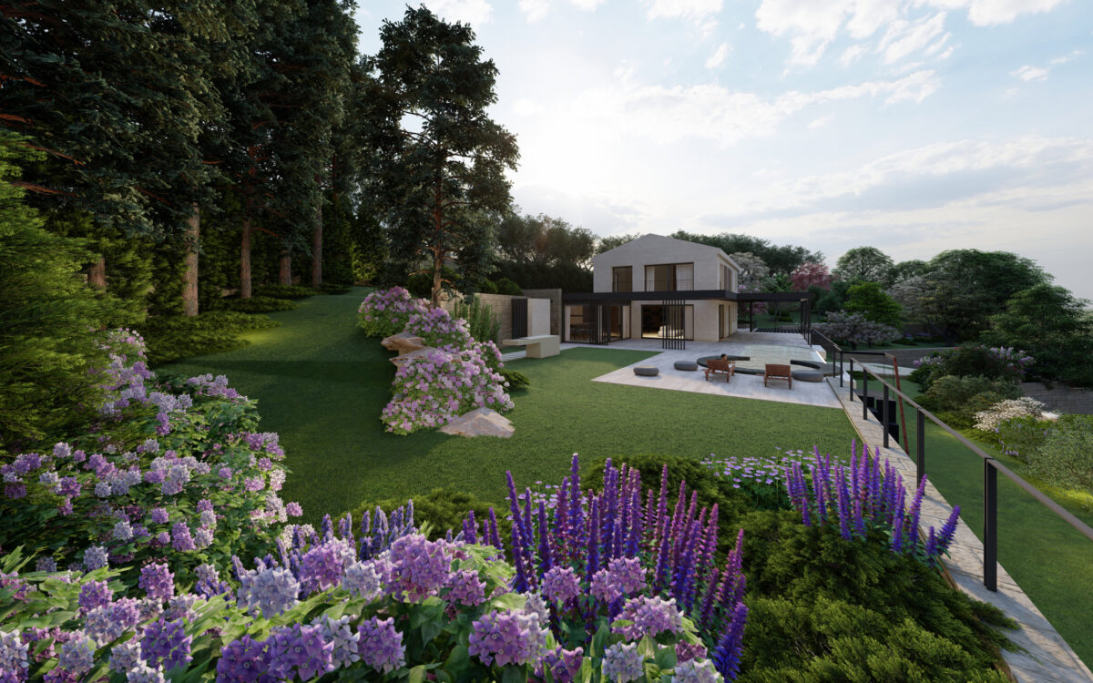 progetto di un giardino di lusso con piscina in Croazia