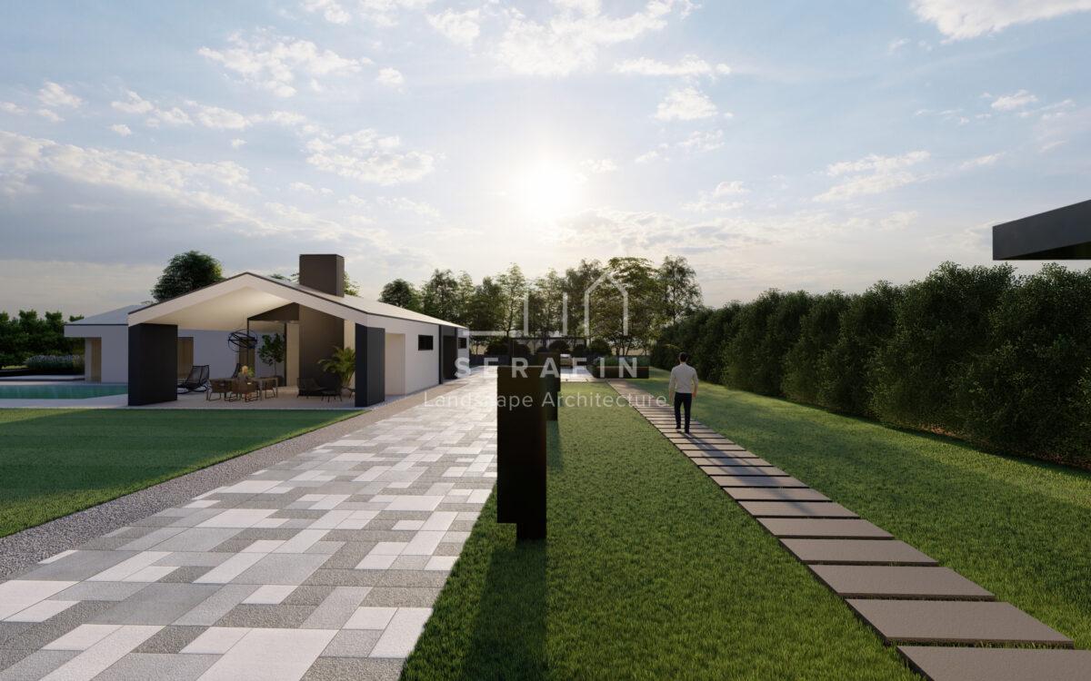 immagine progetto di un giardino moderno con piscina nella città metropolitana di Venezia - 2