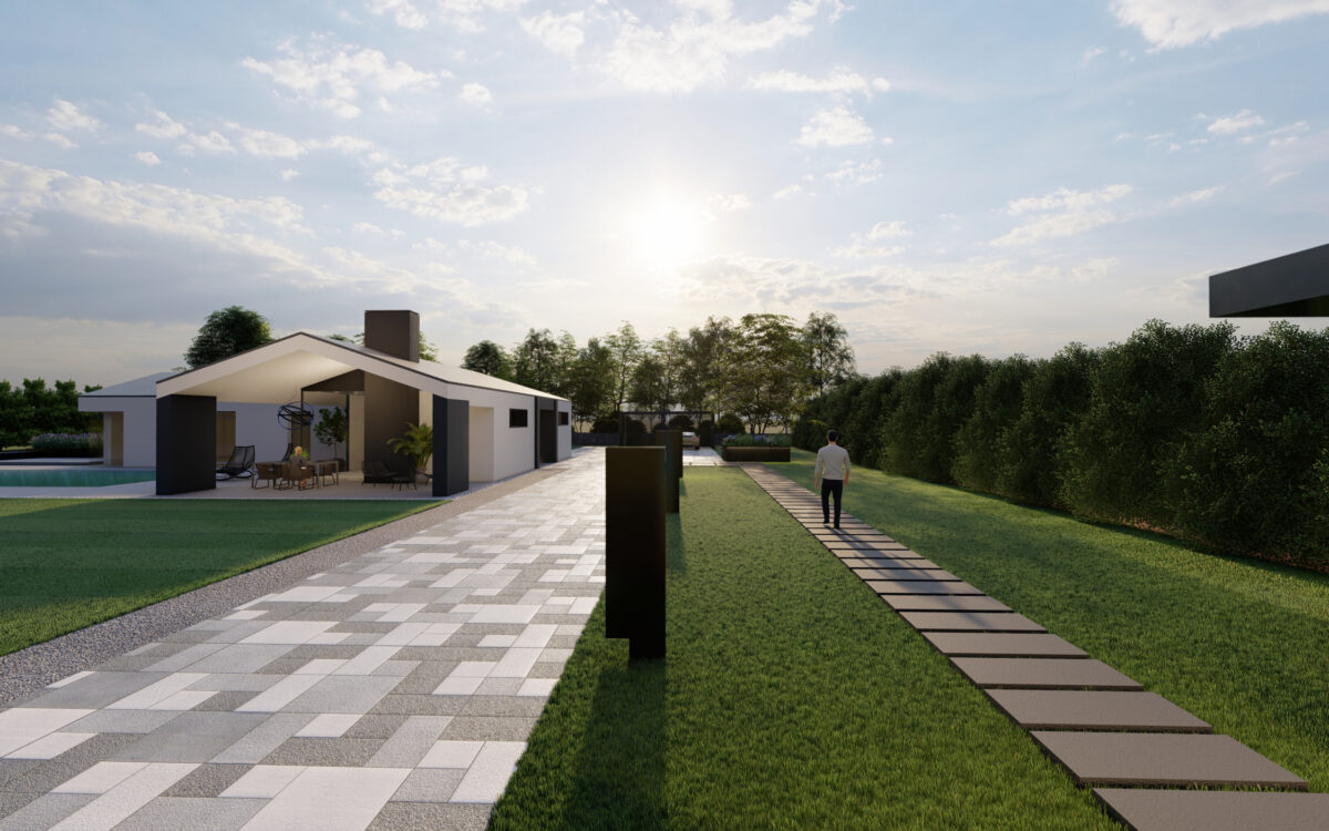 progetto di un giardino moderno con piscina nella città metropolitana di Venezia